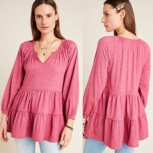 NWT Anthro Maeve Isola Tiered Babydoll Top Sz S